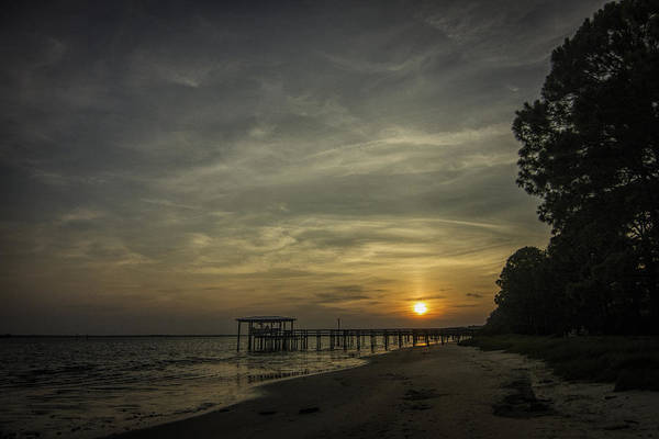Photograph - Sun Going Down Behind Dock by Dorothy Cunningham