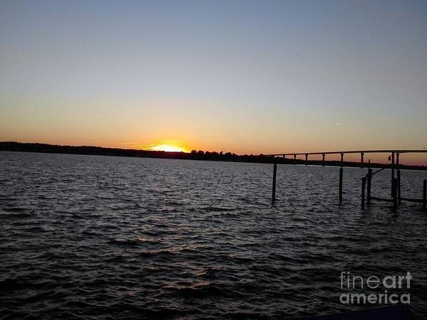 Sun Going Down Near Gov Thomas Johnson Bridge Art Print