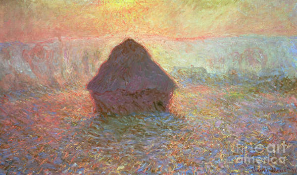 Grain Painting - Sun In The Mist by Claude Monet