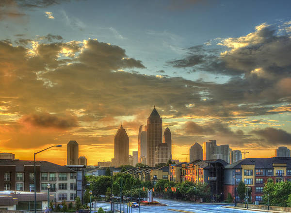 Georgia Power Company Photograph - Sun Is Up Midtown Atlanta Atlantic Station by Reid Callaway