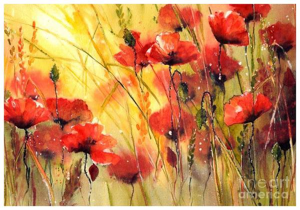 Watercolour Landscape Painting - Sun Kissed Poppies by Suzann's Art