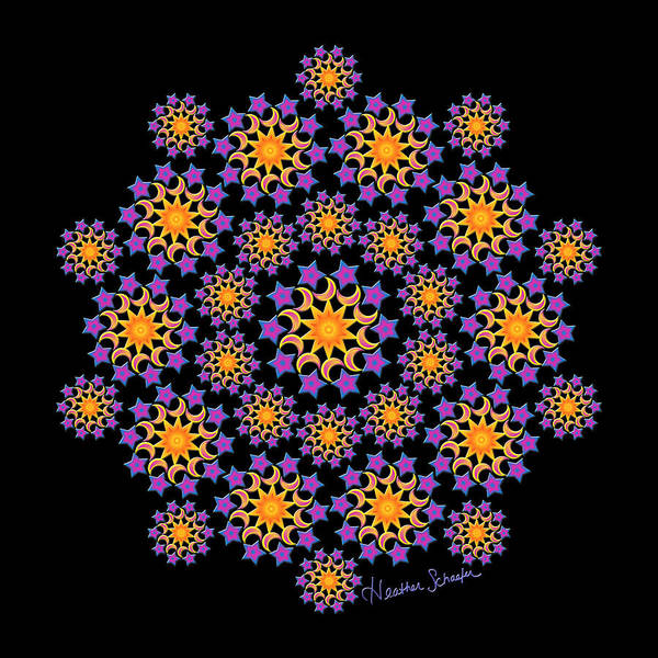 Digital Art - Sun Moon And Stars by Heather Schaefer