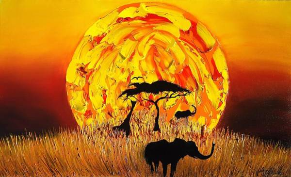 Wall Art - Painting - Sun Of Africa 4 by Dunbar's Modern Art