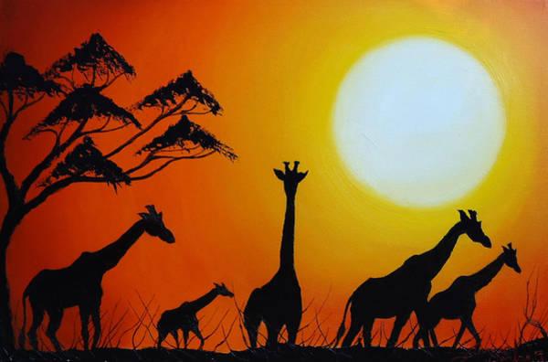 Wall Art - Painting - Sun Of The Giraffe 12 by Dunbar's Modern Art