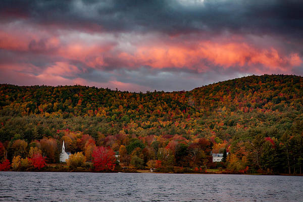 Photograph - Sun Painted Clouds Over White Church by Jeff Folger