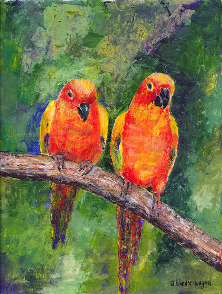 Lovebirds Painting - Sun Parakeets by Arline Wagner