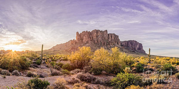 Photograph - Sun Peaking At Lost Dutchman State Park - Apache Junction Arizona by Silvio Ligutti