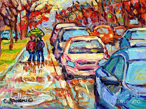 Painting - Sun Peeking Through April Showers Verdun Rainy Day Painting Canadian Street Scene C Spandau Quebec  by Carole Spandau