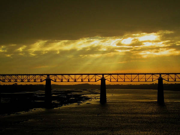 Penetrate Painting - Sun Rays On Water Bridge by Aizen Yash