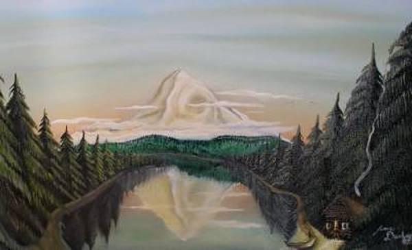 Wall Art - Painting - Sun Rise Over Mount Hood by Dunbar's Modern Art