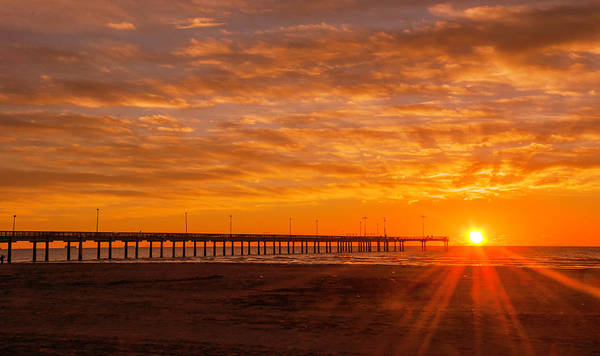 Photograph - Sun Rising At Port Aransas Pier by Brian Kinney