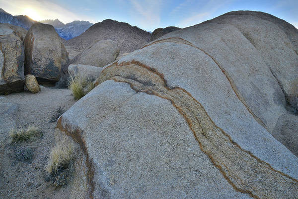 Photograph - Sun Sets Behind Sierra Nevada Mountains In The Alabama Hills by Ray Mathis