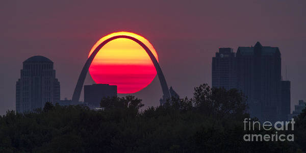 Photograph - Sun Setting Behind St Louis Arch by Garry McMichael