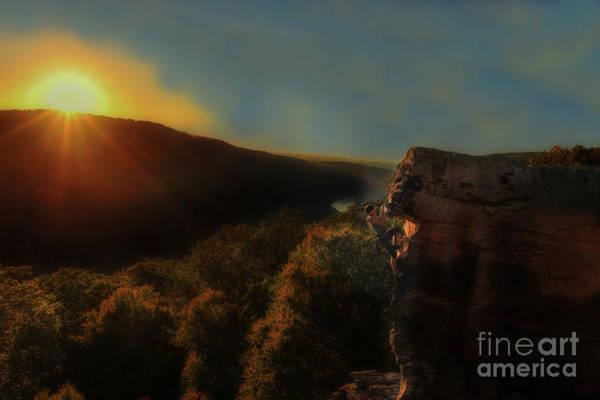 Photograph - Sun Setting On Rock Climber by Dan Friend