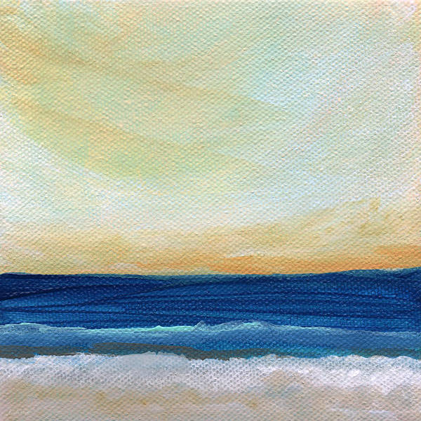 Landscapes Mixed Media - Sun Swept Coast- Abstract Seascape by Linda Woods