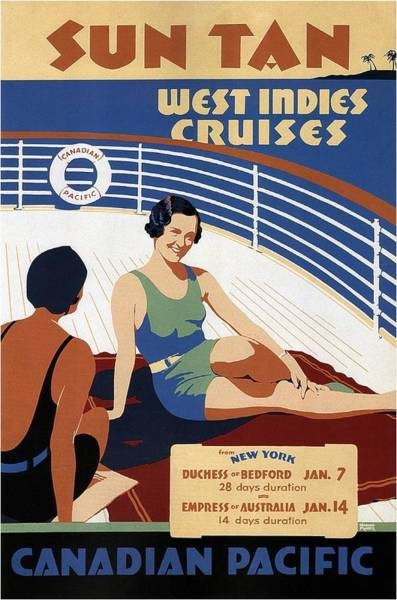Wall Art - Mixed Media - Sun Tan West Indies Cruises - Canadian Pacific - Retro Travel Poster - Vintage Poster by Studio Grafiikka