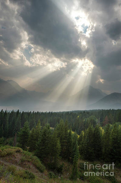 Wall Art - Photograph - Sun Through Clouds Glacier National Park by Twenty Two North Photography