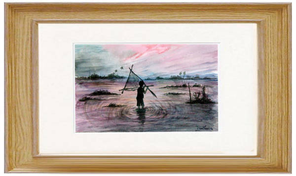 Bangladesh Painting - Sunamgong Haur Sunset Fishing by Uzzal Hasan