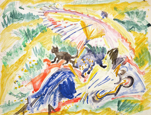 Tan Cat Wall Art - Painting - Sunbathing by Ernst Ludwig Kirchner