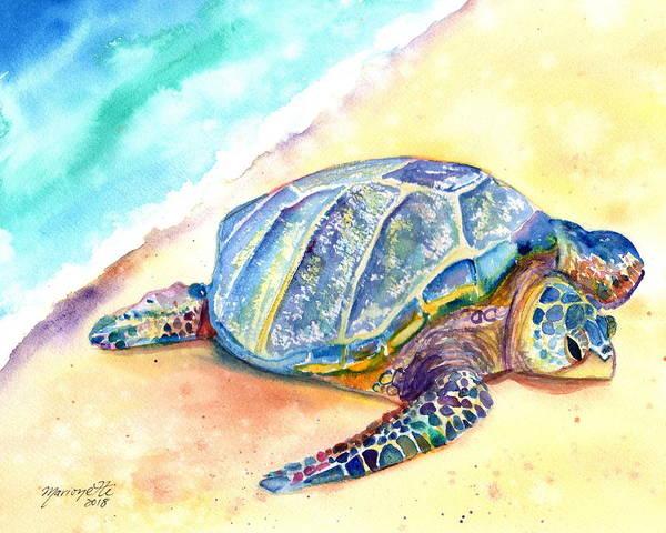 Painting - Sunbathing Turtle by Marionette Taboniar