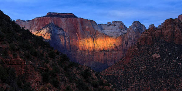 Photograph - Sunbeam, Towers Of The Virgin, Zion by Peter OReilly