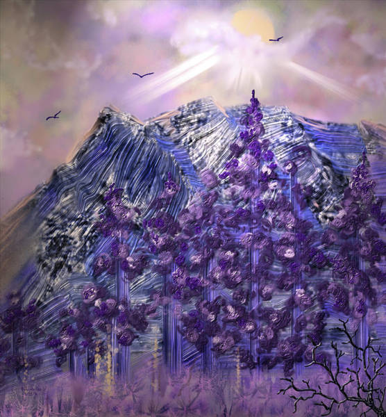 Digital Art - Sunbeams Over The Mountains by Artful Oasis
