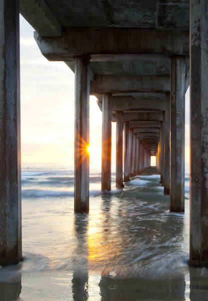 Scripps Pier Photograph - Sunburst At Scripps Pier In La Jolla by Michael Sangiolo