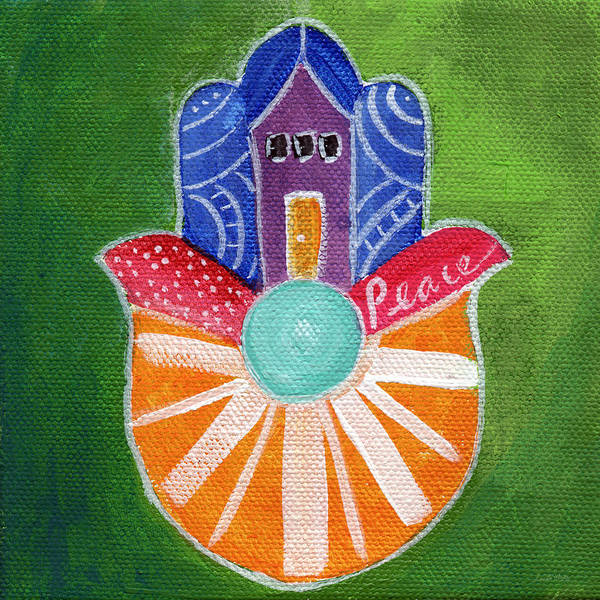 Finger Painting - Sunburst Hamsa by Linda Woods