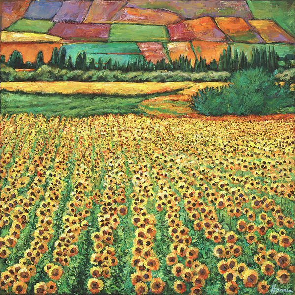 Field Of Flowers Wall Art - Painting - Sunburst by Johnathan Harris