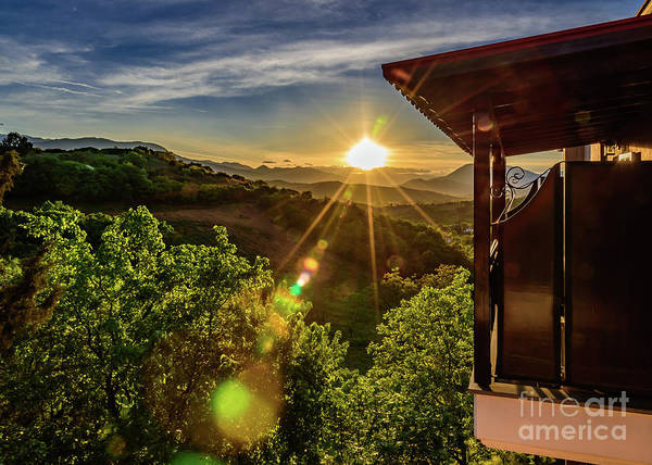 Photograph - Sunburst View From Dellas Boutique Hotel Near Meteora In Kastraki, Kalambaka, Greece by Global Light Photography - Nicole Leffer