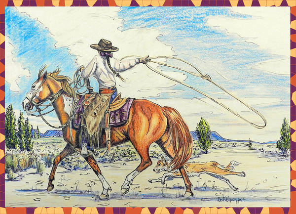 Desert Landscape Mixed Media - Cowgirl And Dog by Cat Culpepper