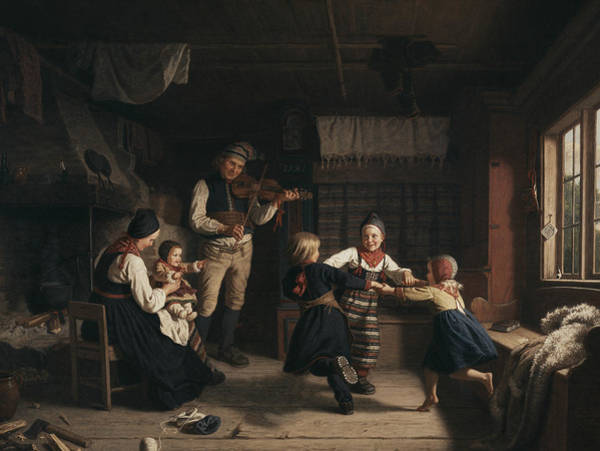 Swedish Painters Wall Art - Painting - Sunday Evening In A Farmhouse In Dalecarlia by Amalia Lindegren