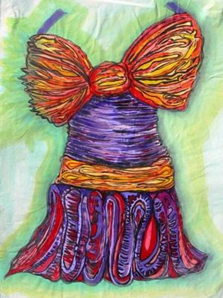 Wall Art - Painting - Sunday Going To Bbq Dress by Donna Zoll
