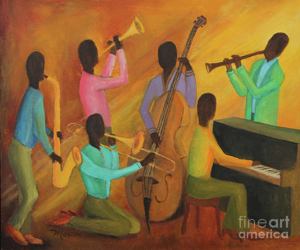 Wall Art - Painting - Sunday Kind Of Jazz by Larry Martin