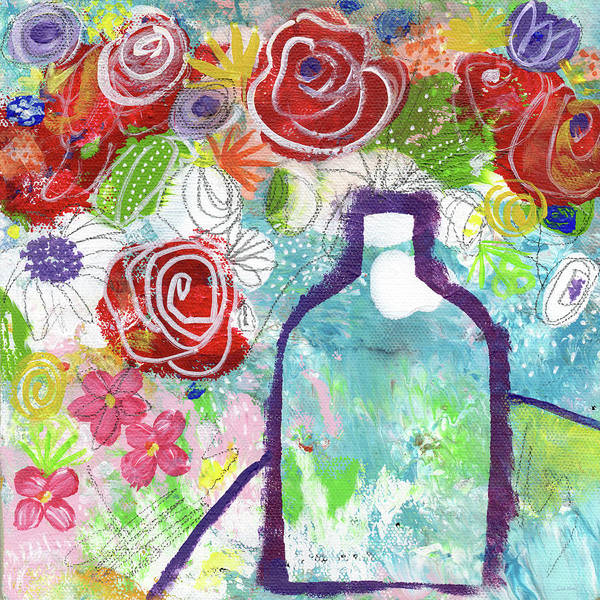 Expressionist Painting - Sunday Market Flowers 2- Art By Linda Woods by Linda Woods