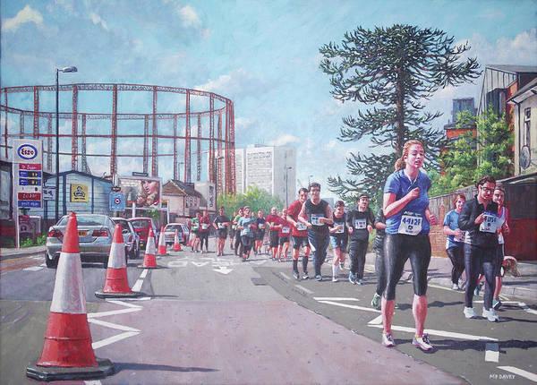 Painting - Sunday Morning Abp Marathon. Northam, Southampton  by Martin Davey