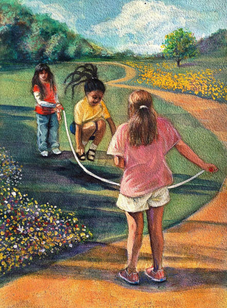 Skip Rope Painting - Sunday Morning Play by Gregory DeGroat