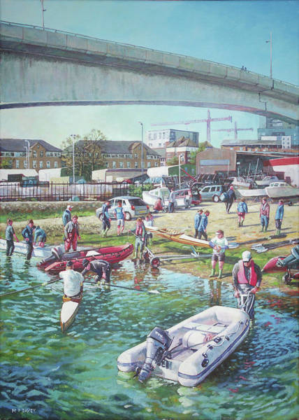 Wall Art - Painting - Sunday Morning Rowing At Itchen Bridge, Southampton  by Martin Davey