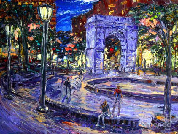 Washington Square Park Wall Art - Painting - Sunday Night In Washington Square Park by Arthur  Robins