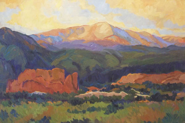 Pikes Peak Painting - Sunday Sunrise by Laura  Reilly