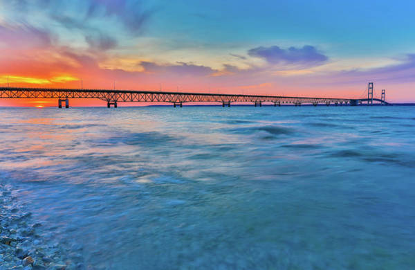 Photograph - Sundown At Mackinac Bridge by Dan Sproul
