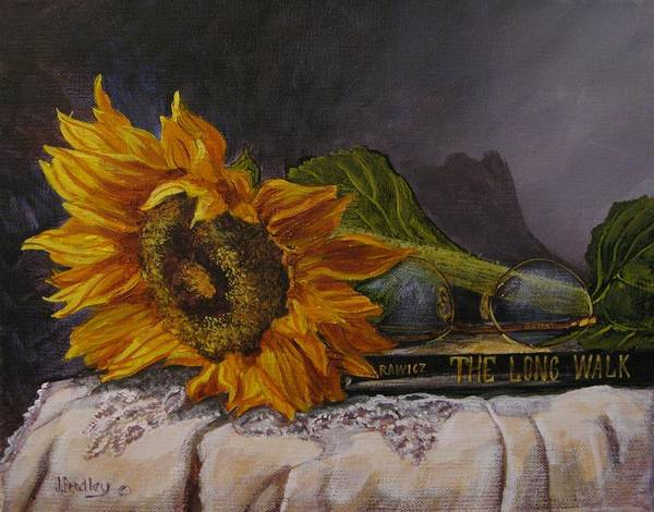 Painting - Sunflower And Book by Judy Bradley