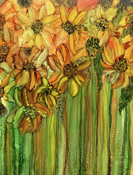 Mixed Media - Sunflower Bloomies 1 - Golden by Carol Cavalaris