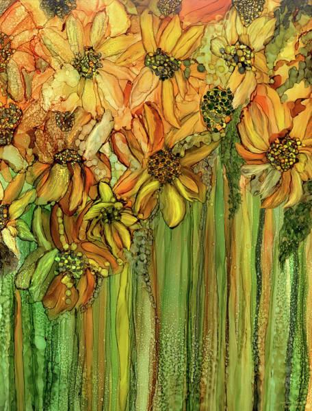Mixed Media - Sunflower Bloomies 1 - Golden by Carol Cavalaris