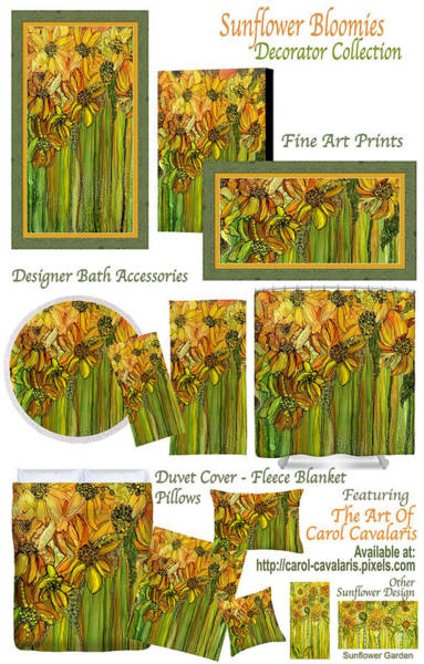 Mixed Media - Sunflower Bloomies Decorator Collection by Carol Cavalaris