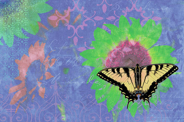 Wall Art - Painting - Sunflower Butterfly Blue by JQ Licensing