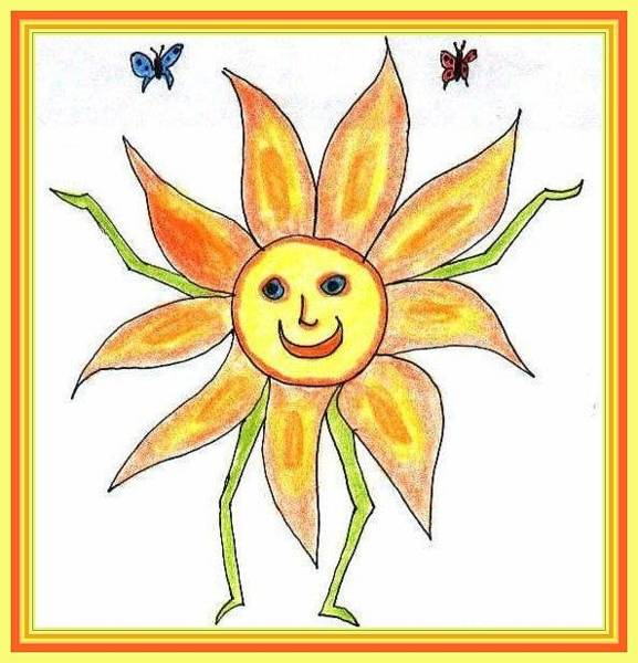 Drawing - Sunflower Child by Julia Woodman