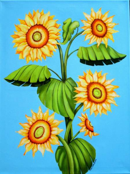 Wall Art - Painting - Sunflower Family by Carol Sabo