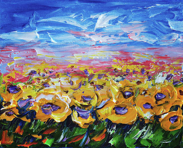 Painting - Sunflower Field  by OLena Art - Lena Owens