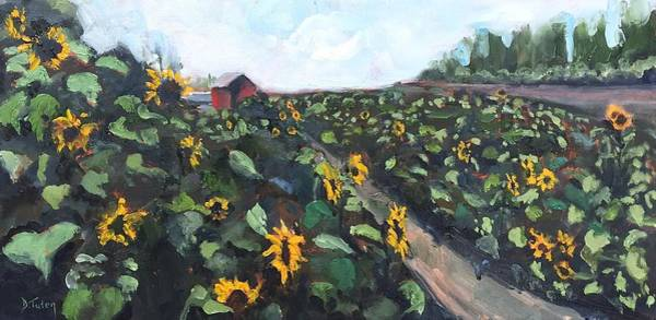 Painting - Sunflower Field Oil Painting by Donna Tuten